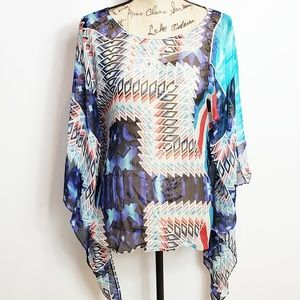 Nwt W by worth silk sheer top small